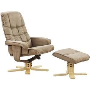 Relaxsessel mit Hocker | beige | 73 cm | 74 cm | 108 cm |