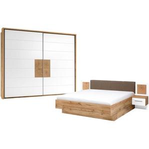 uno Schlafzimmer 4-teilig, mit Bettkasten Campus ¦ holzfarben ¦ Maße (cm): B: 270 H: 225 T: 61