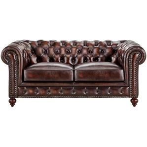 uno Sofa 2-sitzig braun - Leder Chesterfield ¦ braun ¦ Maße (cm): B: 183 H: 80 T: 100