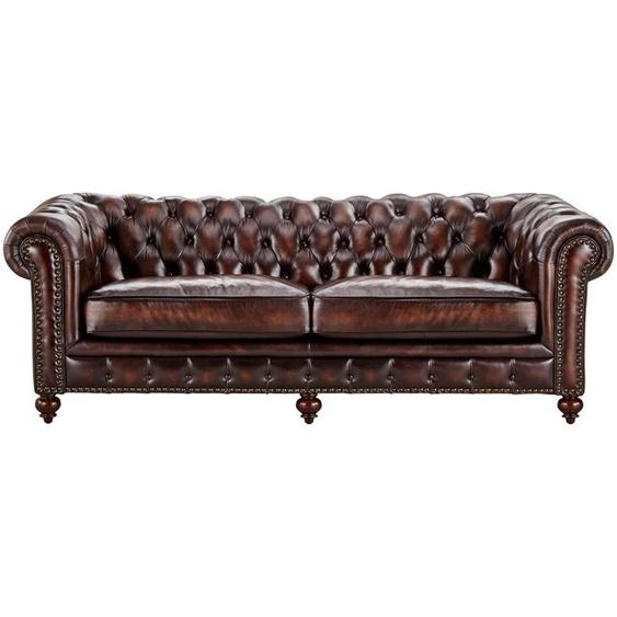 uno Sofa 3-sitzig Leder  Chesterfield ¦ braun