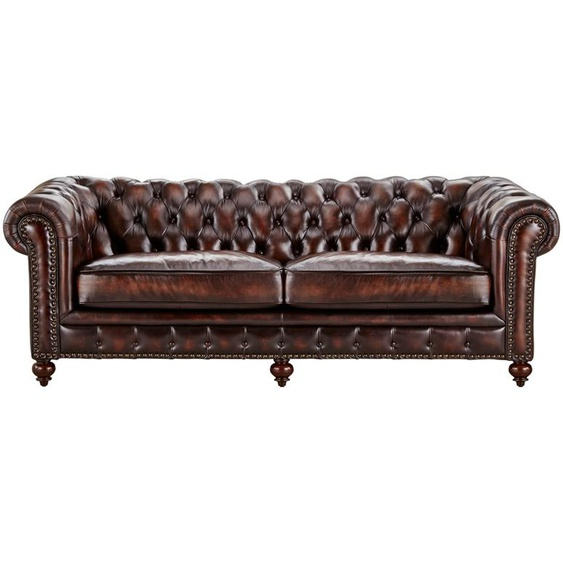 uno Sofa 3-sitzig Leder  Chesterfield - braun   Möbel Kraft