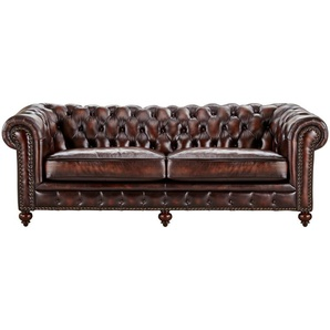 uno Sofa 3-sitzig Leder braun - Leder Chesterfield ¦ braun ¦ Maße (cm): B: 230 H: 80 T: 100