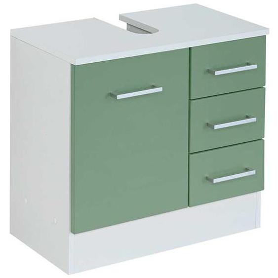 Unterbeckenschrank in Grün und Weiß Tür und Schubladen