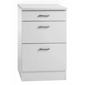 Unterschrank Klassik 60 Weiß 50 cm mit 3 Schubladen