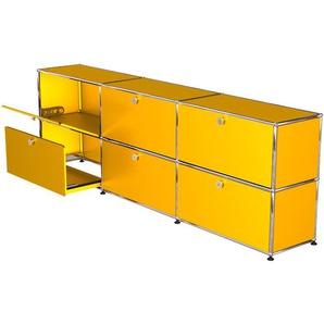 USM Haller - Sideboard - L mit je 3 Klappen und Auszügen - gelb