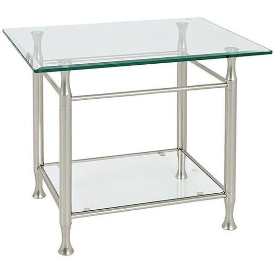 utz Beistelltisch rechteckig Silber , Metall, Glas , 58x52 cm