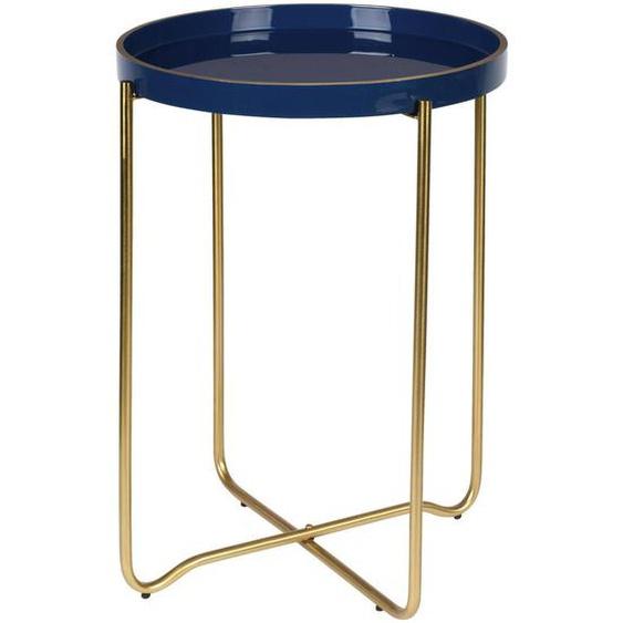 utz Beistelltisch rund Blau , Metall , 42x55x42 cm