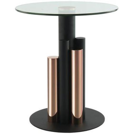 utz Beistelltisch rund Gold , Metall, Glas , 46x52x46 cm