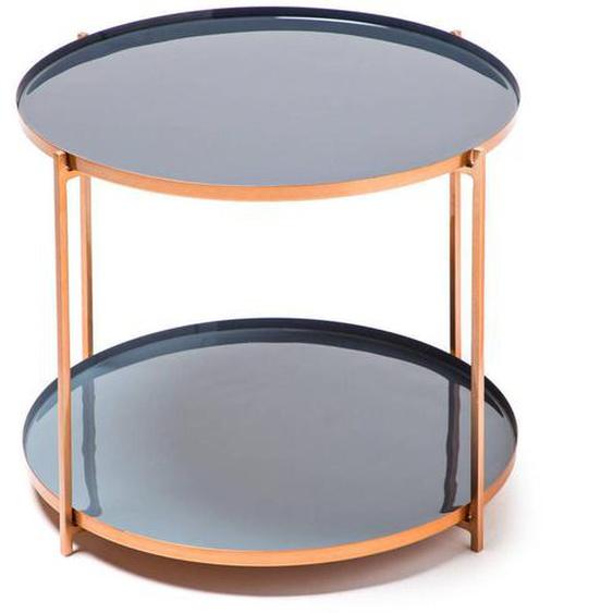 utz Beistelltisch rund Grau, Blau , Metall , 50x40x50 cm