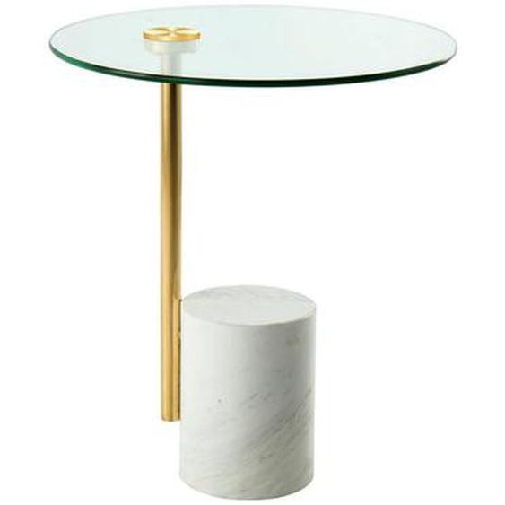 utz Beistelltisch rund Weiß, Gold , Metall, Glas, Stein , 44x50x44 cm