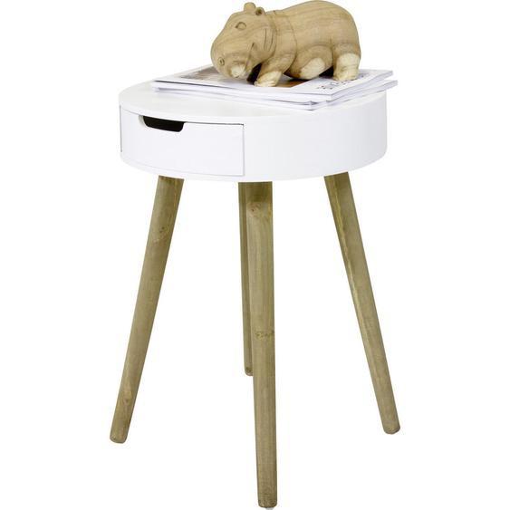 utz Beistelltisch rund Weiß , Holz , 1 Schubladen , 52 cm