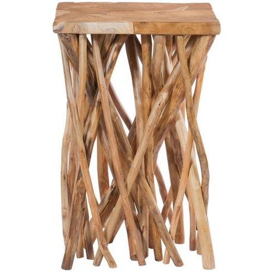 utz Beistelltisch Teakholz quadratisch Weiß , Holz , 40x60x40 cm