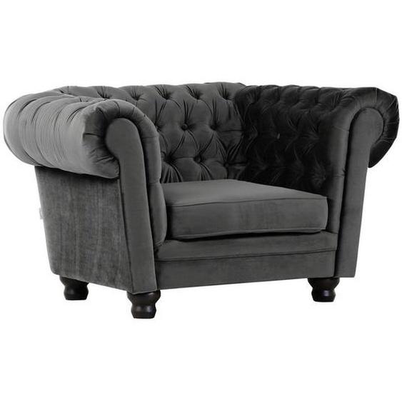 utz Chesterfield-Sessel Flachgewebe Grau , Textil , 130x79x93 cm