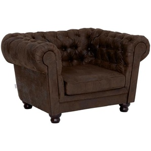 Chesterfield Sessel , Dunkelbraun , Textil , Used look , 130x79x93 cm , Stoffauswahl , Wohnzimmer, Sessel, Polstersessel