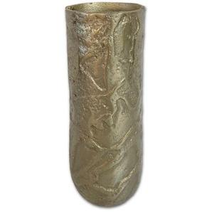 Dekovase , Gold , Metall , Struktur , 13x32x13 cm , zum Stellen , Dekoration, Vasen