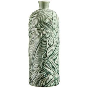 Dekovase , Grün , Keramik , Blätter , 43 cm , Dekoration, Vasen
