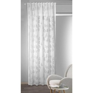 utz Fertigvorhang halbtransparent 135/245 cm , Weiß , Textil , Schmetterling , 135x245 cm