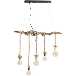 Hängeleuchte Rope , Natur , Holz, Metall, Kunststoff, Naturmaterialien , 6x210 cm , Innenbeleuchtung, Pendelleuchten