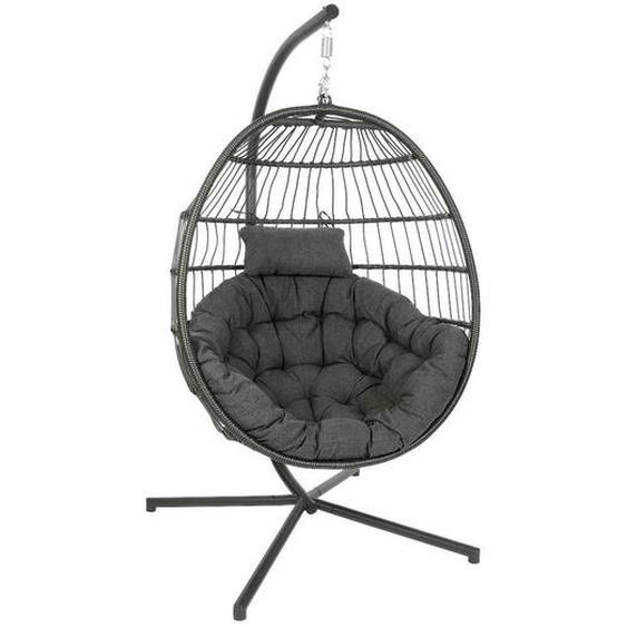 utz Hängesessel Grau , Grau , Metall, Kunststoff, Textil , 106x127x68 cm