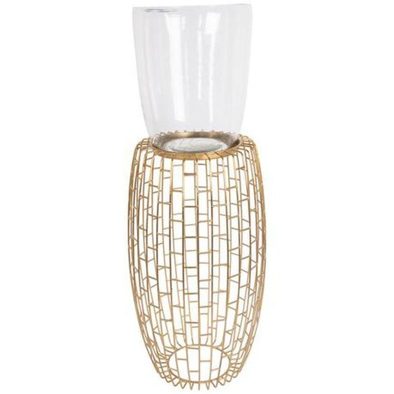 utz Kerzenhalter , Gold , Metall, Glas , 28x73x28 cm