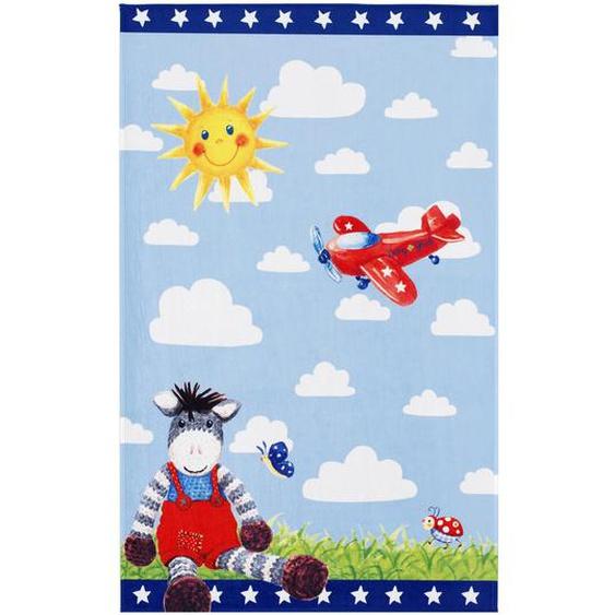 utz Kinderteppich 100/160 cm Weiß, Blau , Textil , Esel , 100x160 cm
