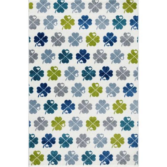 utz Kinderteppich 120/180 cm Mehrfarbig, Weiß , Mehrfarbig, Weiß , Textil , Blätter , 120 cm