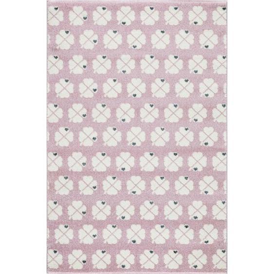 utz Kinderteppich 120/180 cm Weiß , Textil , Blätter , 120 cm