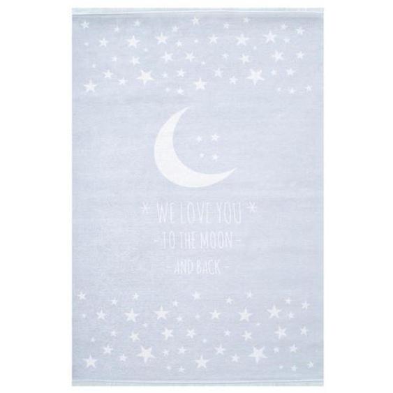 utz Kinderteppich 140/190 cm Weiß, Blau , Textil , Stern , 140 cm