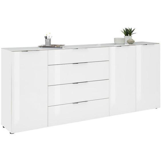utz Kommode Weiß , Holzwerkstoff , 4 Fächer , 4 Schubladen , 226x99x40 cm