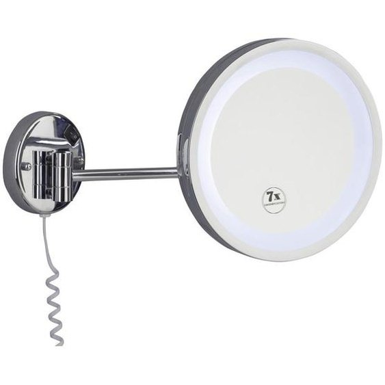 utz Kosmetikspiegel Silber , Metall, Glas , 25x25x10 cm