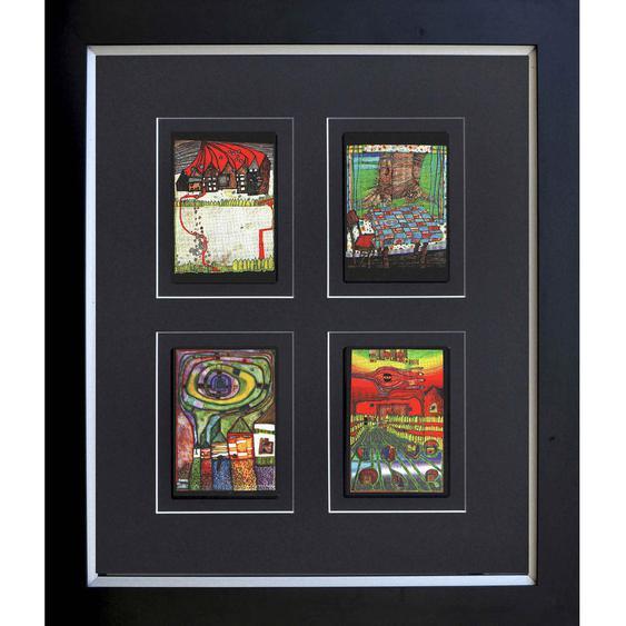utz Kunstdruck Abstraktes, Architektur , Mehrfarbig , Holzwerkstoff , 58x68 cm