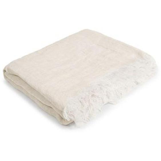 utz Leinen-Plaid 130x170 cm 130/170 cm Beige , Textil , Uni , 130 cm