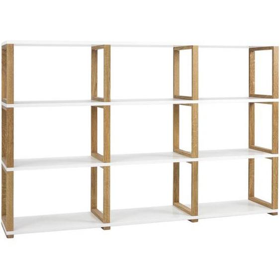 utz Regal Eiche Weiß, Braun , Holzwerkstoff , 4 Fächer , 178x118x36 cm
