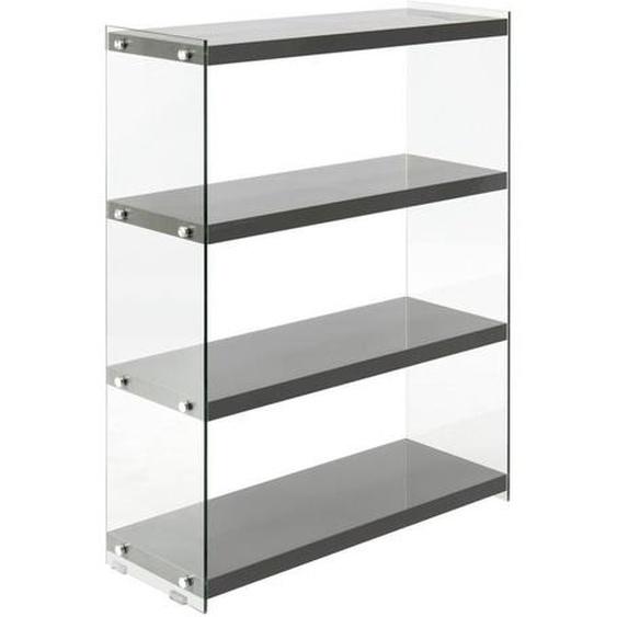 utz Regal Grau , Glas , 4 Fächer , 29.5x113x83 cm