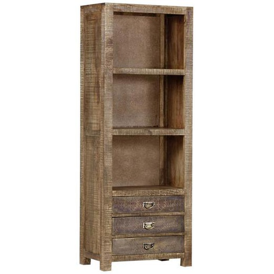 utz Regal Mangoholz massiv Braun , Holz , 2 Fächer , 3 Schubladen , 67x180x42 cm