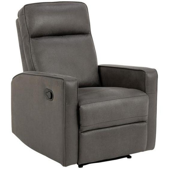 utz Relaxsessel Lederlook, Mikrofaser Relaxfunktion , Grau , Textil , 72x103x91 cm