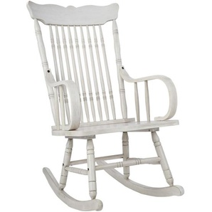 Schaukelstuhl , Weiß , Holz , Hartholz , 79.4x108x55.3 cm , Esszimmer, Stühle, Schaukelstühle