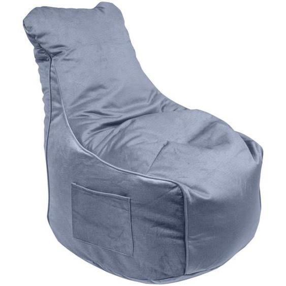 utz Sitzsack Samt Blau , Textil , 330 L , 65x95x75 cm