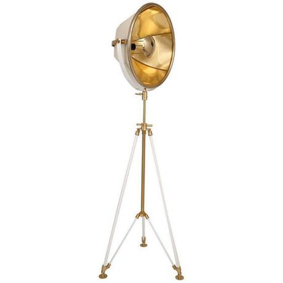 utz Stehleuchte , Weiß, Gold, Beige , Metall, Kunststoff, Textil , 57x157x53 cm