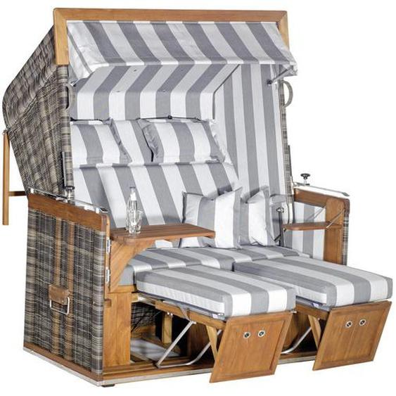 utz Strandkorb , Weiß, Braun , Holz, Metall, Kunststoff, Textil , Teakholz , massiv , Streifen , 150x160x90 cm
