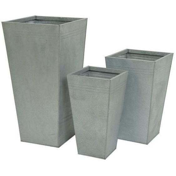 utz Übertopf-Set 3-teilig , Zink , Metall , 35.00x70.00 cm