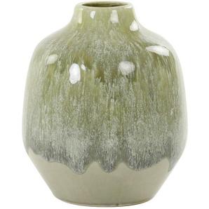 Vase , Olivgrün , Keramik , 19x22.5 cm , Dekoration, Vasen