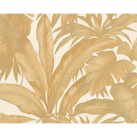 utz Vliestapete 10,05 m , Weiß, Gold , Textil , Floral , 70x1005 cm