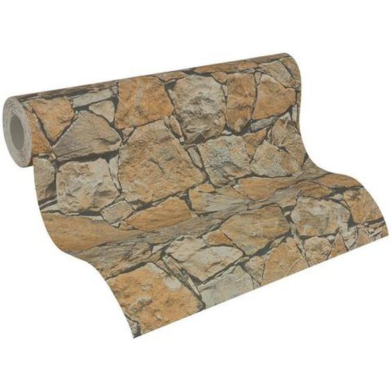 utz Vliestapete in steinopktik 10,05 m , Braun, Mehrfarbig , Textil , Steine , 53x1005 cm