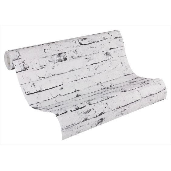 utz Vliestapete in steinopktik 10,05 m , Weiß, Grau , Textil , Steine , 53x1005 cm