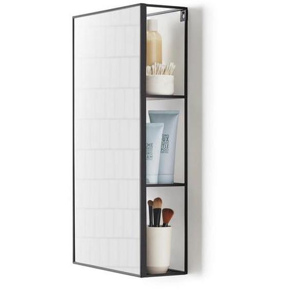 utz Wandspiegel Cubiko Schwarz , Metall, Glas , 30x62x13 cm