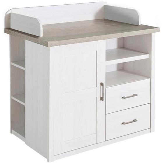 utz Wickelkommode Luca / Corner Weiß, Braun , Metall , Nachbildung , 3 Fächer , 2 Schubladen , 106x102x75 cm