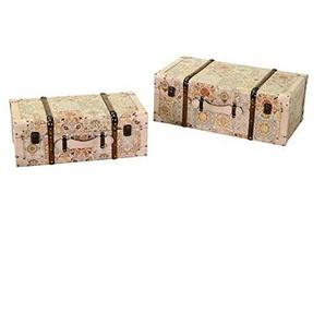 Vacchetti 3813150000 Aufbewahrungsbox, Kunstleder, cremefarben, klein, 2 Stück
