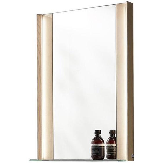 Valdera Badezimmerspiegel Esche Braun , Holz , massiv , 62x76.8x14.1 cm