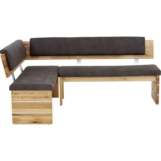 Valdera Eckbank Mikrofaser Eiche massiv Braun , Holz, Textil